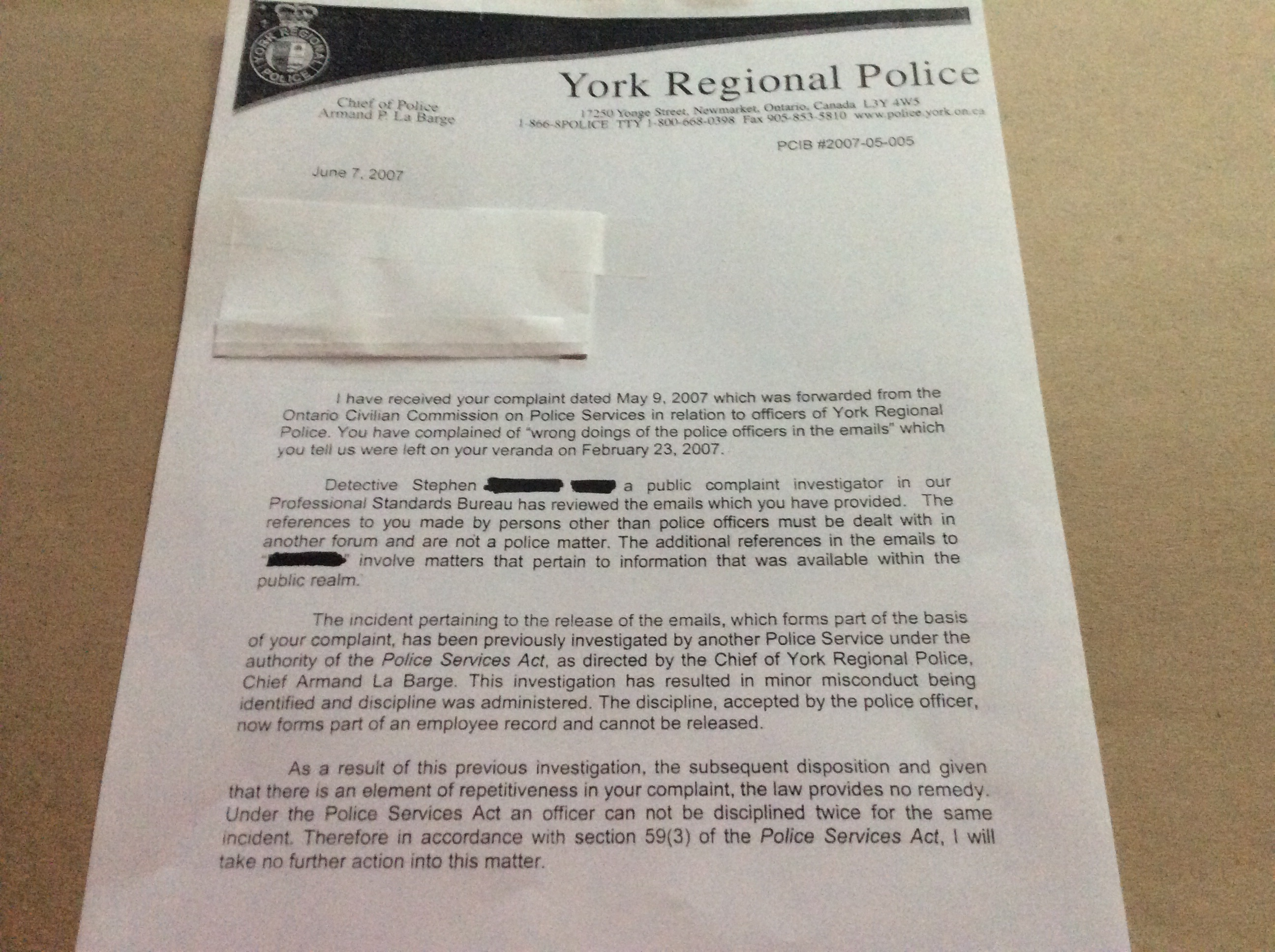Letter To OCOPPS From Vaughan Resident Complaint Filed Against YRP For Not  Investigating Issues Of Alleged Frauds Etc